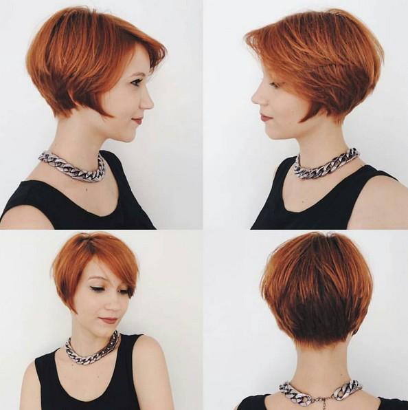 Una línea de cortes de pelo corto - peinados lindos con Pixie Bangs