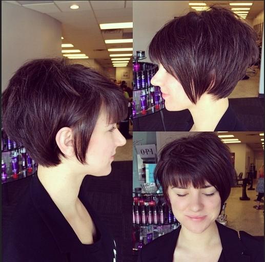 Peinado corto linda con Blunt Bangs - Pixie corte de pelo para mujeres y niñas