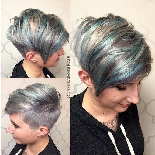 Bastante, Afeitado Pixie Peinado con Bangs Side - Balayage peinados para el pelo corto