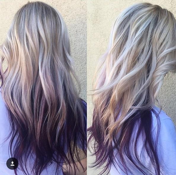 Purple Ombre peinado con el pelo largo en capas , Ombre Balayage peinados