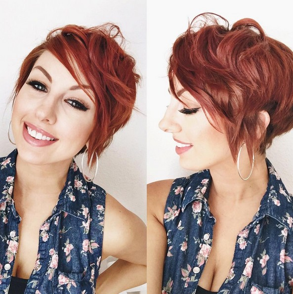 Red-Messy-Curly-Pixie-Haircuts-Short-Hairstyles-with-Side-Bangs