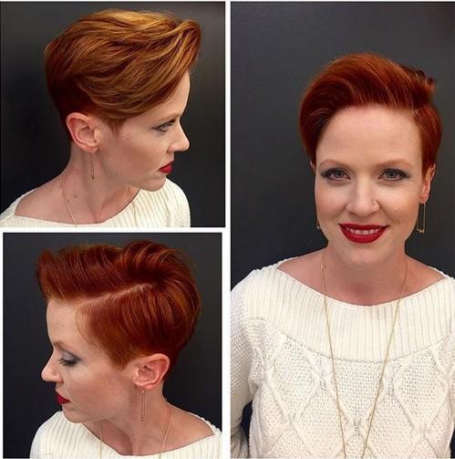 Pixie corte de pelo rojo con el lado largo Bangs - cortes de pelo corto para mujeres mayores de 40