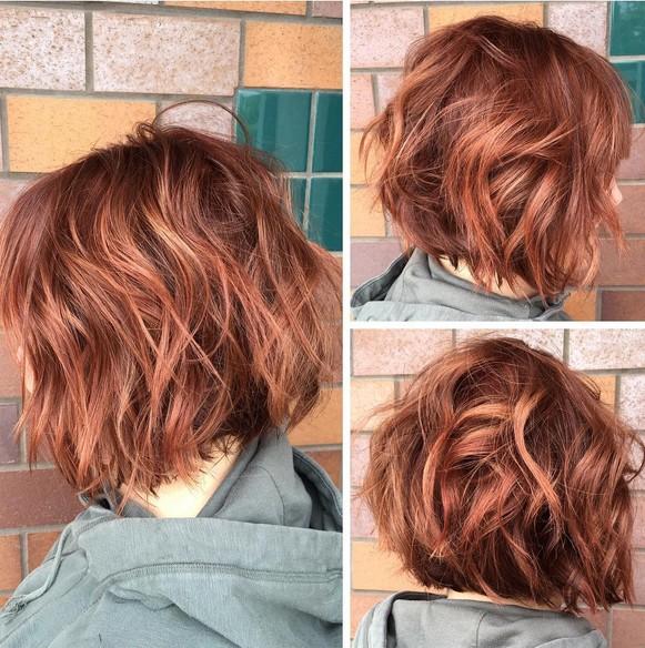 color rojo y un corte de pelo bob textura , Cortes de pelo corto para el
