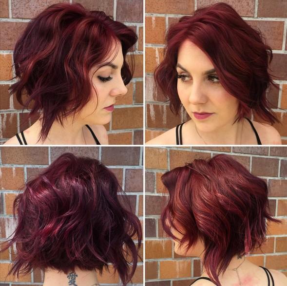 Ondas Rojo Violeta \u2013 Mujeres corto peinado para pelo grueso