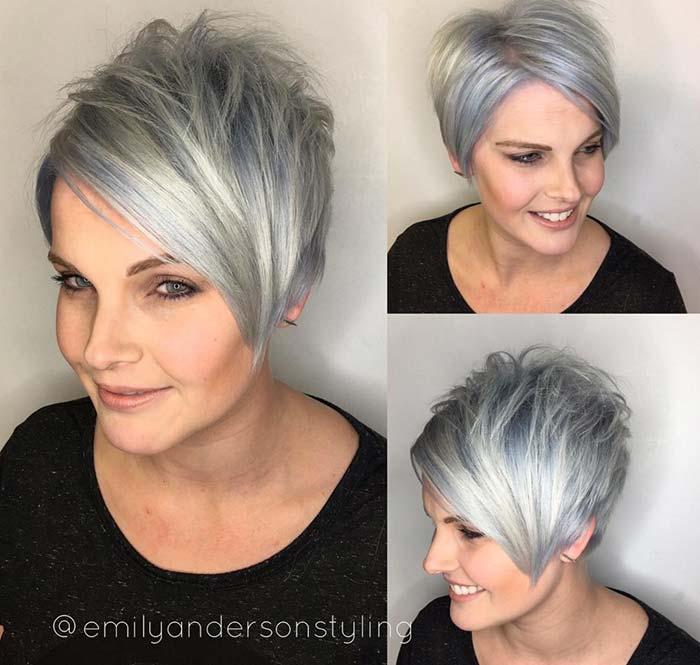 corte de pelo de plata Pixie para cabello fino
