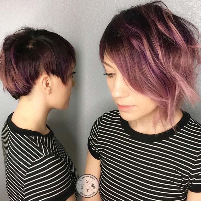 cortes de pelo corto asimétricos para el pelo ralo de cuerda fina