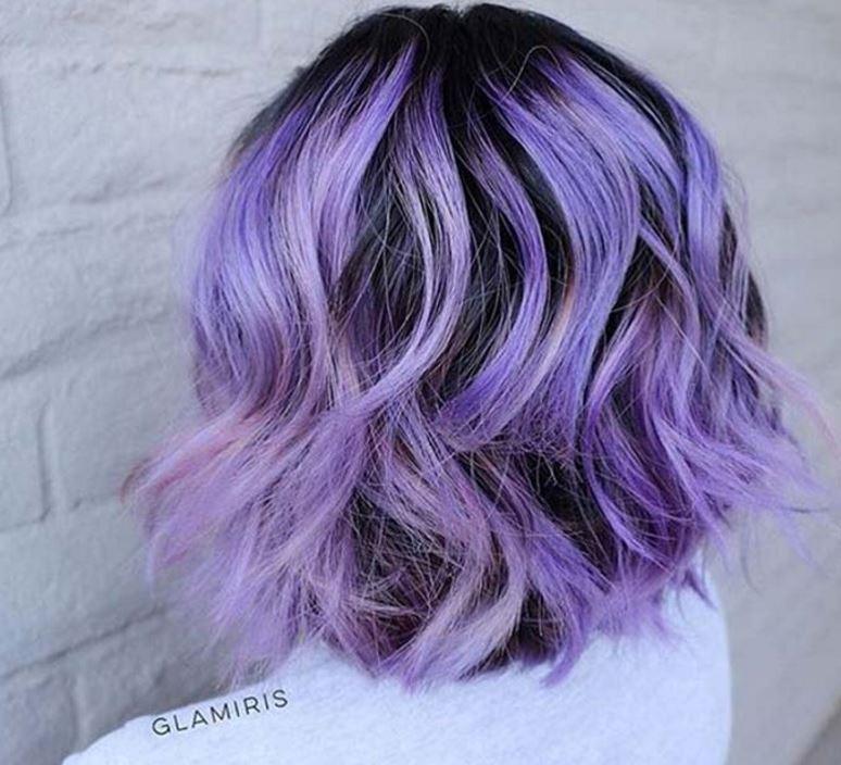 incluyendo henna y vetas de cortes de pelo corto de color púrpura 2017