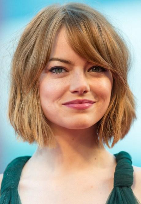 Emma Stone corto Bob Corte de pelo con flequillo de pelo grueso