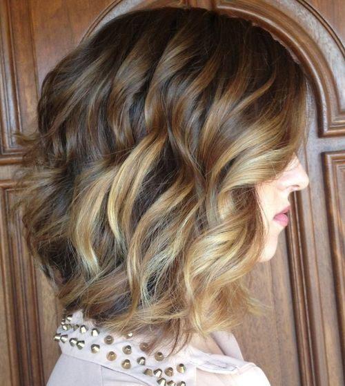 medio rizado Peinado con Ombre Highlights