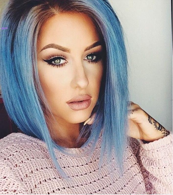 bob azul fresco corte de pelo