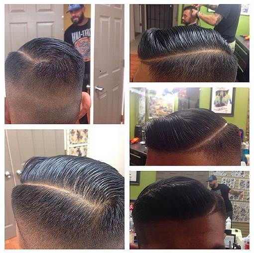 Una fotografía peluquería de un hombre con un corte de pelo contorno ejecutivo fresco y una parte peinado de lado