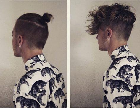 El corte de pelo corte sesgado copete en un tipo con el pelo largo desordenado