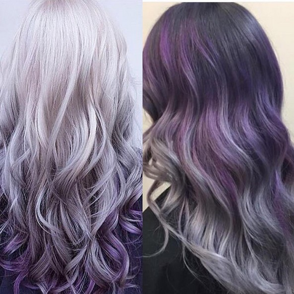 Gris púrpura de Ombre Hair - Grueso peinados para el pelo largo