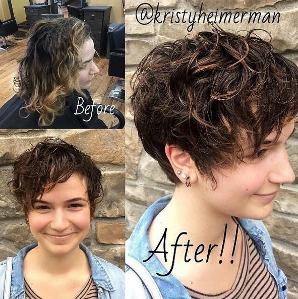 Pixie corte de pelo con flequillo