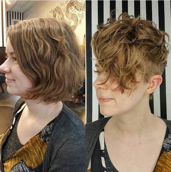 bastante rizada Pixie Cut - Afeitado corte de pelo corto con flequillo largo