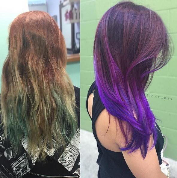 Purple Ombre con el pelo largo recto
