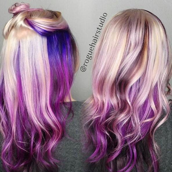 bajo luces - púrpura Ombre Hair - 1 minuto de pelo