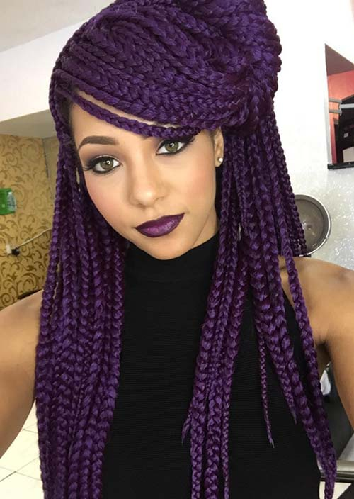 Purple labios con trenzado de pelo