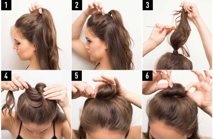 application Mujer peinados medio bollo